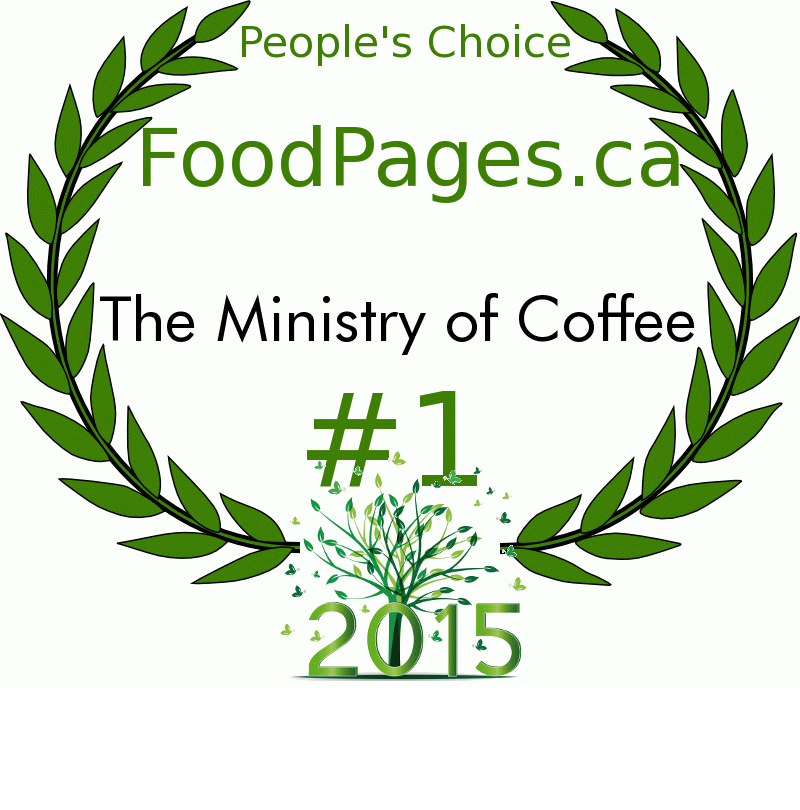 The Ministry of Coffee FoodPages.ca 2015 Award Winner