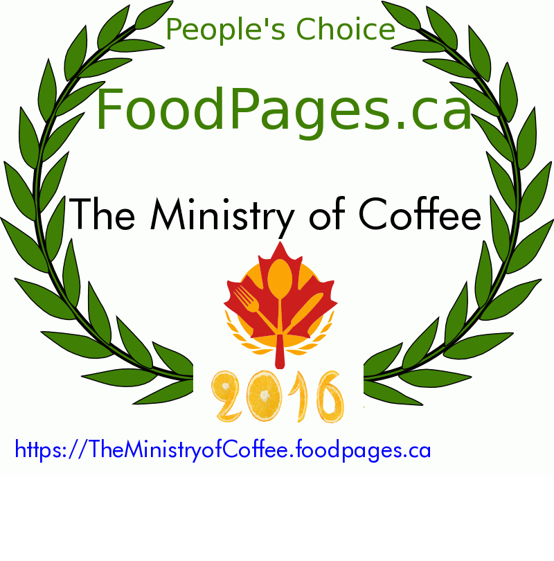 The Ministry of Coffee FoodPages.ca 2016 Award Winner
