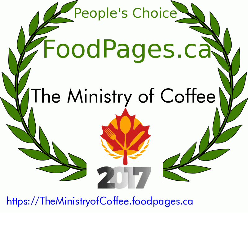 The Ministry of Coffee FoodPages.ca 2017 Award Winner